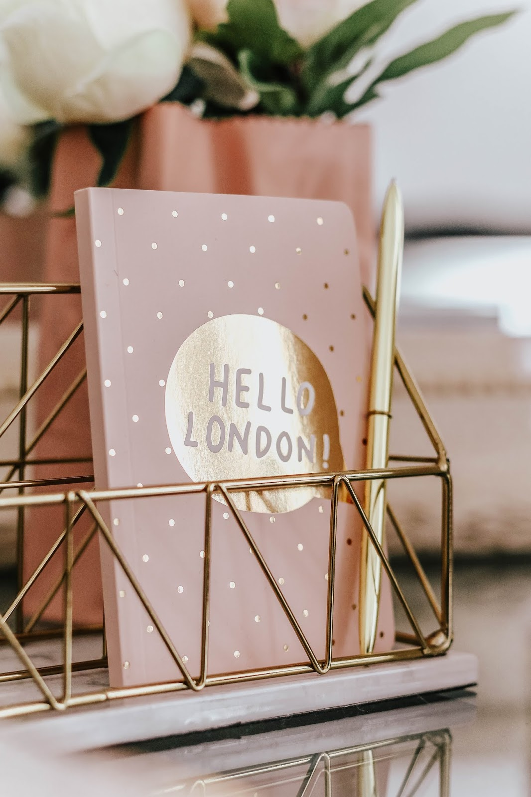 Hello London pink and gold notebook