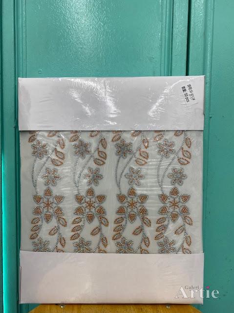 Hotfix stickers dmc rhinestone aplikasi tudung bawal fabrik pakaian bunga 5 kuntum dedaun