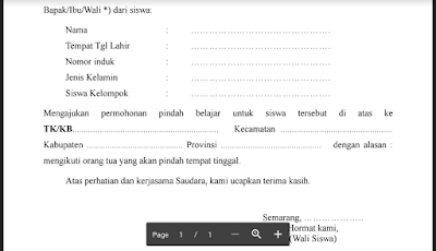 Contoh Surat Permohonan Pindah Sekolah Dari Orang Tua/ Wali Siswa