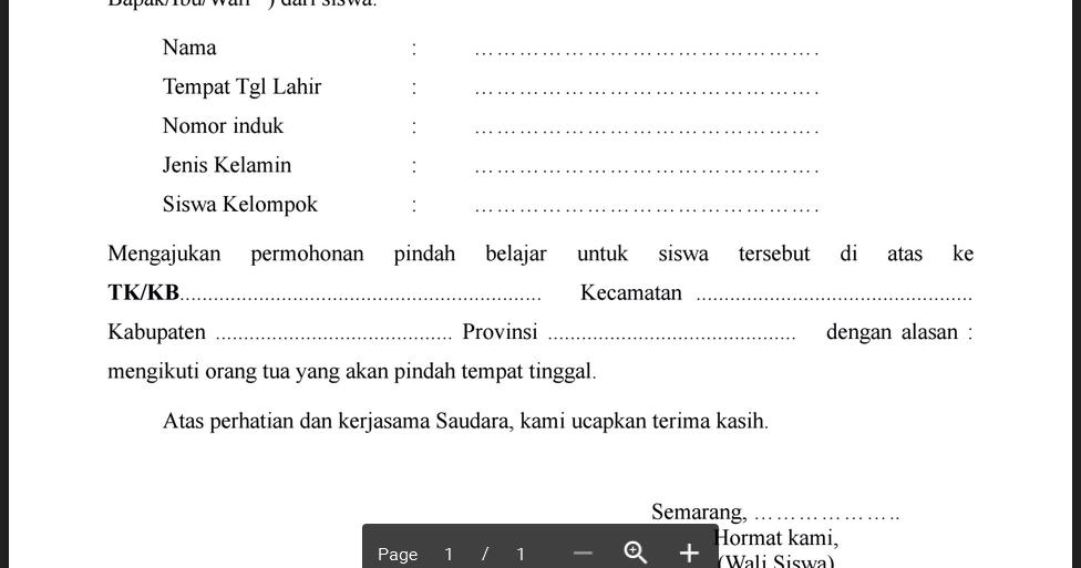 Contoh Surat Permohonan Pindah Sekolah Dari Orang Tua ...