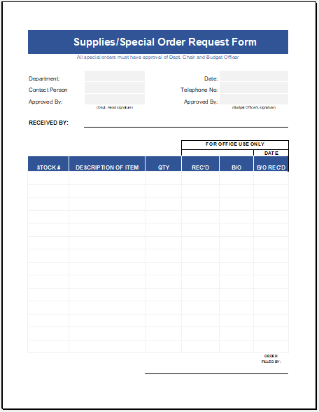 Supply Order Sheet Template for Excel Free Download