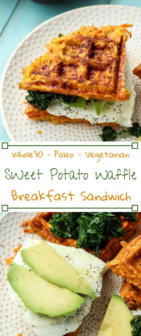 PALEO SWEET POTATO WAFFLE BREAKFAST SANDWICH  #vegetarian #paleo #sandwich #potato #cauliflower