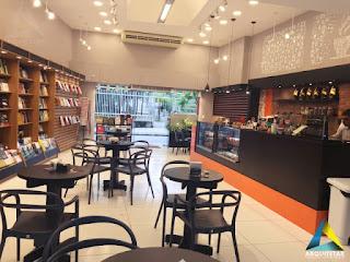projeto arquitetura mobiliário café livraria