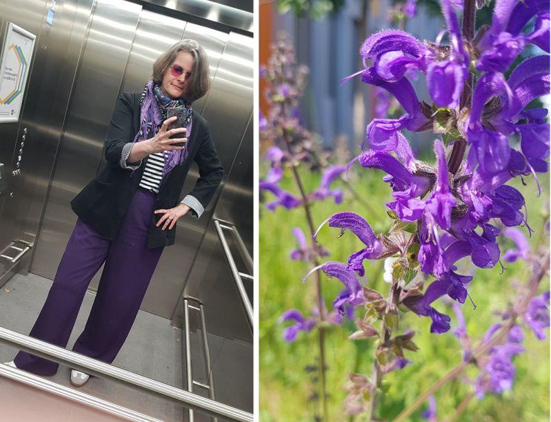 Bürooutfit lila Marlenehose mit Ringelshirt und 80ies Blazer