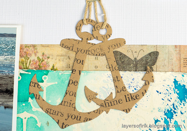 Layers of ink - At the seaside layout by Anna-Karin Evaldsson. Die cut kraft anchors.