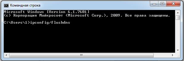Задаем команду на очистку кэш DNS в cmd Windows7