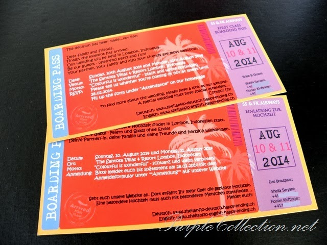 Boarding Pass Wedding Card, Summer, Beach, Lombok, Indonesia, Coconut Tree, Colour, Air Ticket Wedding Card