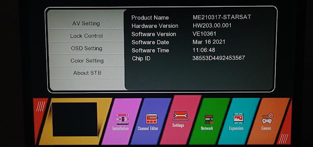 STARSAT GX6605S HW203 SERIES U38 MENU NEW SOFTWARE 16 MARCH 2021