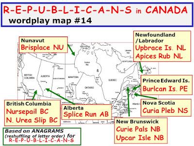 wordplay; map; anagrams; Canada; Republican; postal abbreviations; Giorgio Coniglio