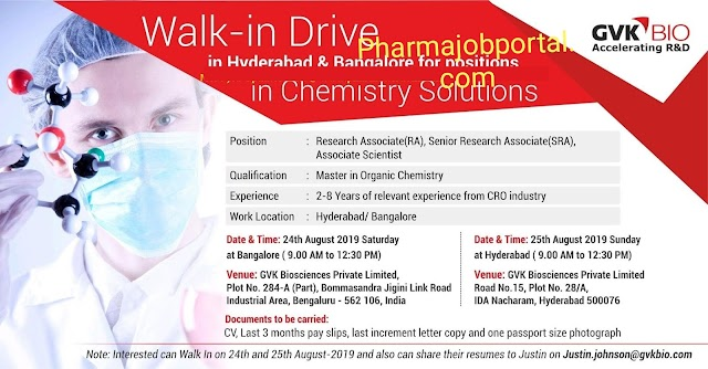 Gvk Bioscience walk in Drive for Research Associate / Sr associate on 24th August 2019