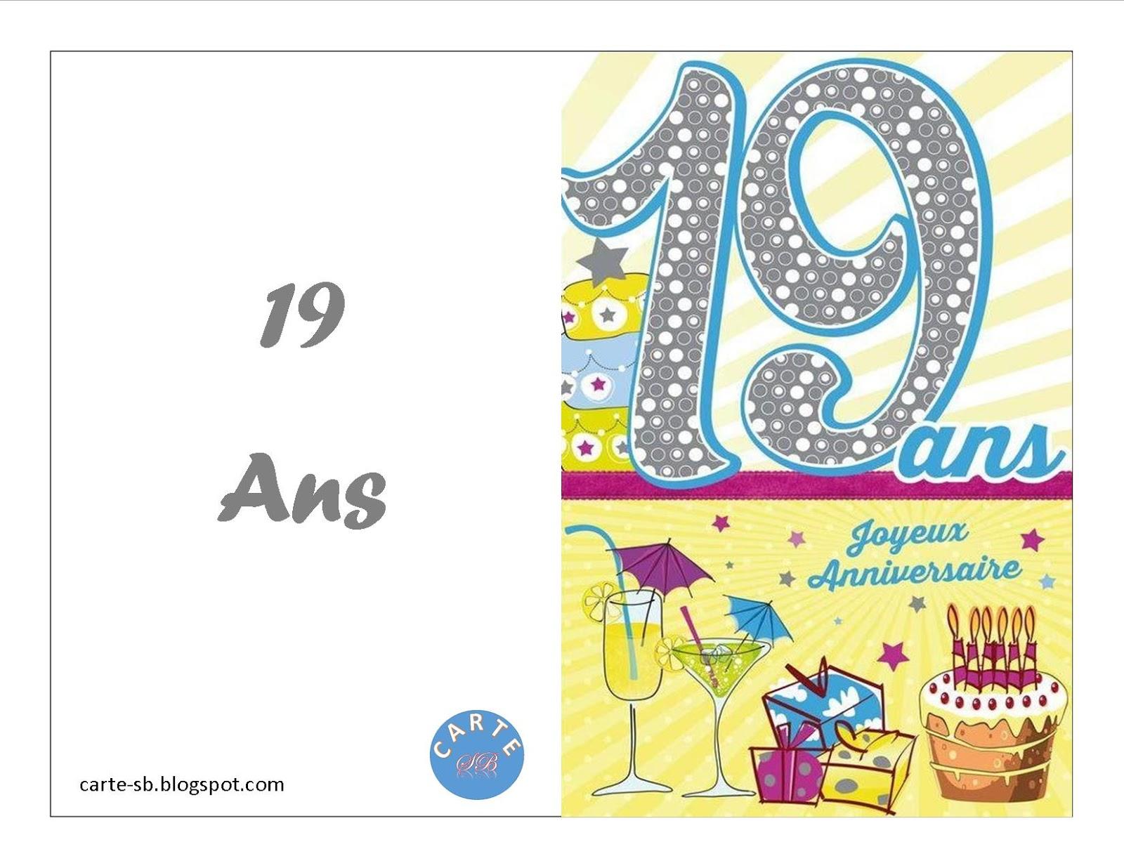 Carte Gratuite A Imprimer Carte Anniversaire 19 Ans A Imprimer