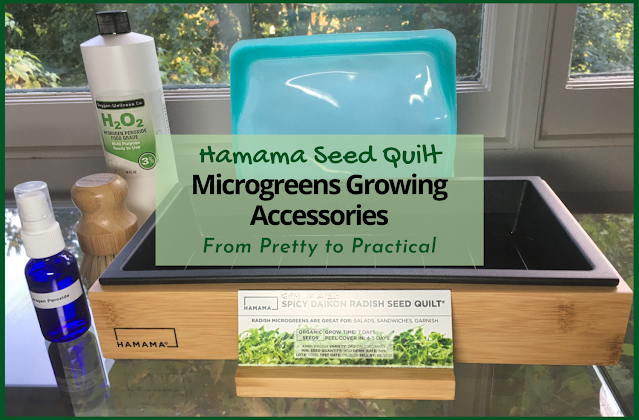 "Photo of bamboo accessories and other supplies for Hamama micgrogreens growing system, overlaid with title text, ""Hamama Seed Quilt Microgreens Growing Accessories"""