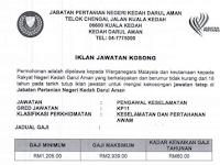 Jawatan Kosong Jabatan Pertanian Negeri Kedah - Minima PMR / SRP / PT3