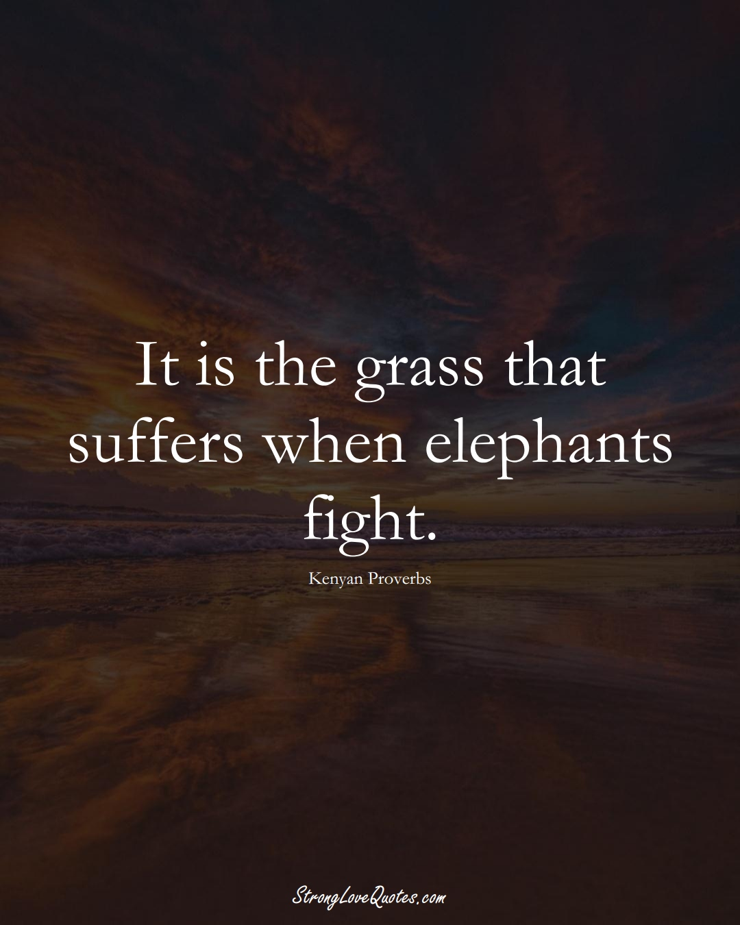It is the grass that suffers when elephants fight. (Kenyan Sayings);  #AfricanSayings