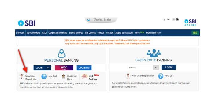sbi netbanking online registration