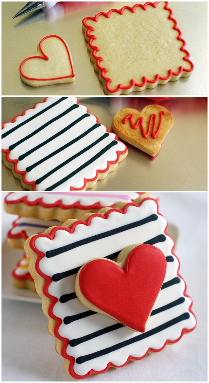 how to make double-decker striped heart cookies