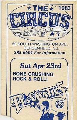 The Circus rock club ticket stub to see The Plasmatics April 23, 1983