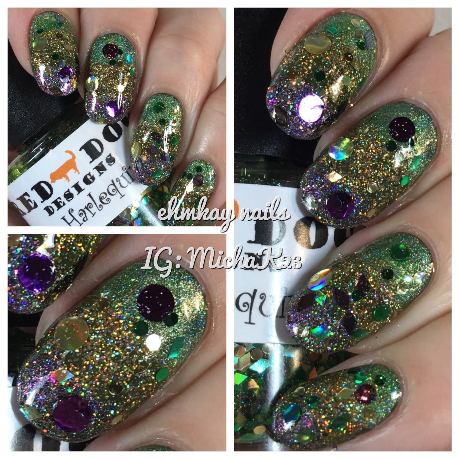 Ehmkay Nails Mardi Gras Nail Art Glitter Stripes With Indie Polish