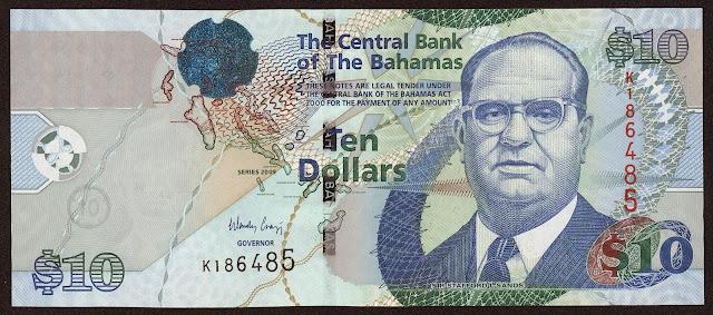 Bahamas Banknotes 10 Dollars banknote 2009 Sir Stafford Sands