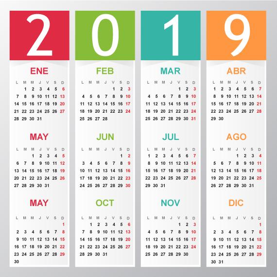 Calendario Elegante del 2019 editable en español vector