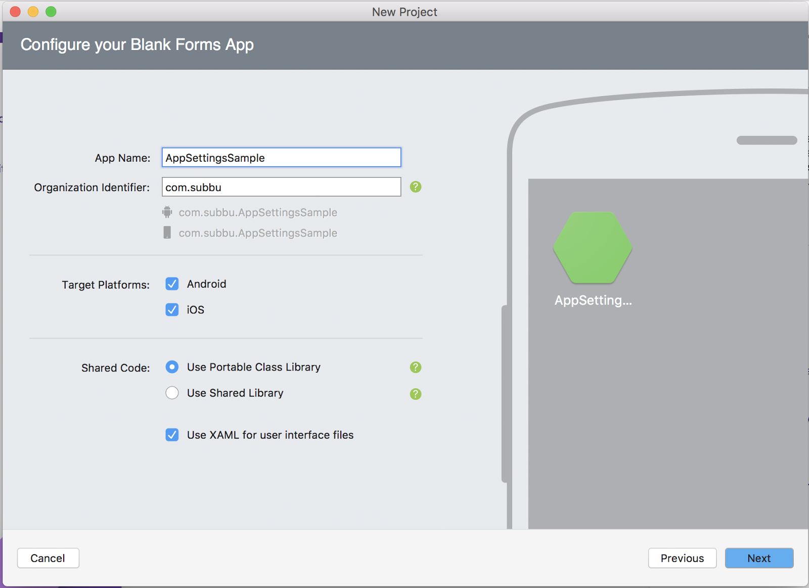 AppSettings: How to store user settings in Xamarin Forms