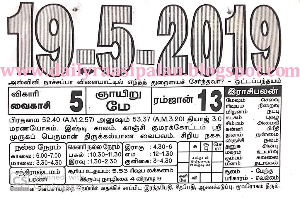 Raasi Palan Today for 19th May 2019 - Sunday - Daily Raasi Palan