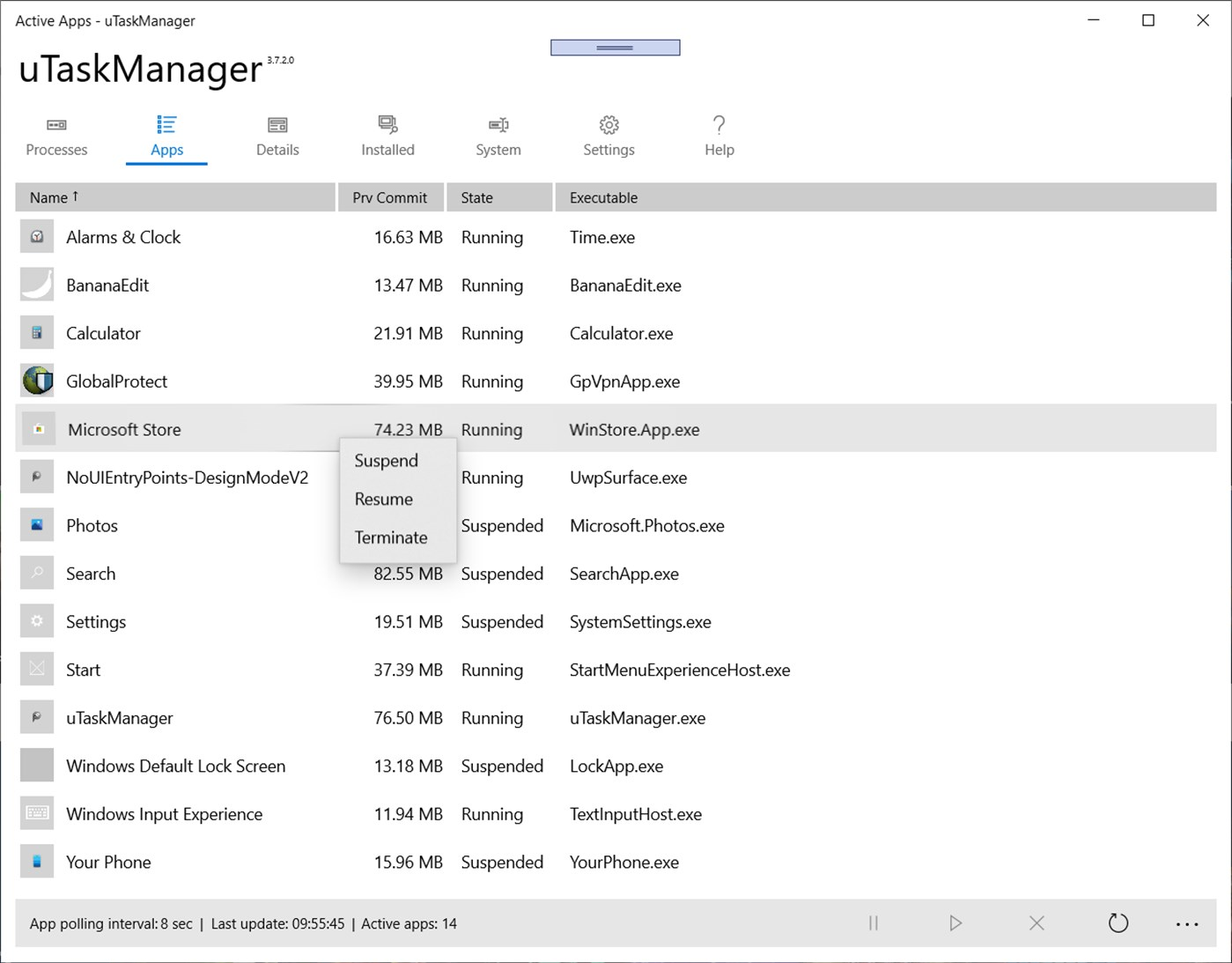 uTaskManager, Task Manager App UWP per Windows 10