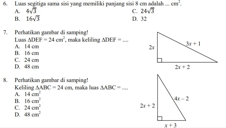 Latihan Soal Teorema Phytagoras Matematika