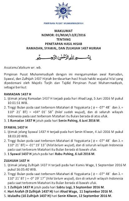 Maklumat penetapan awal ramadhan dan hari raya idul fitri 1437h 2016