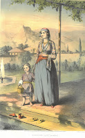 A chromolithographic print of a Turkish woman without her veil and a young child