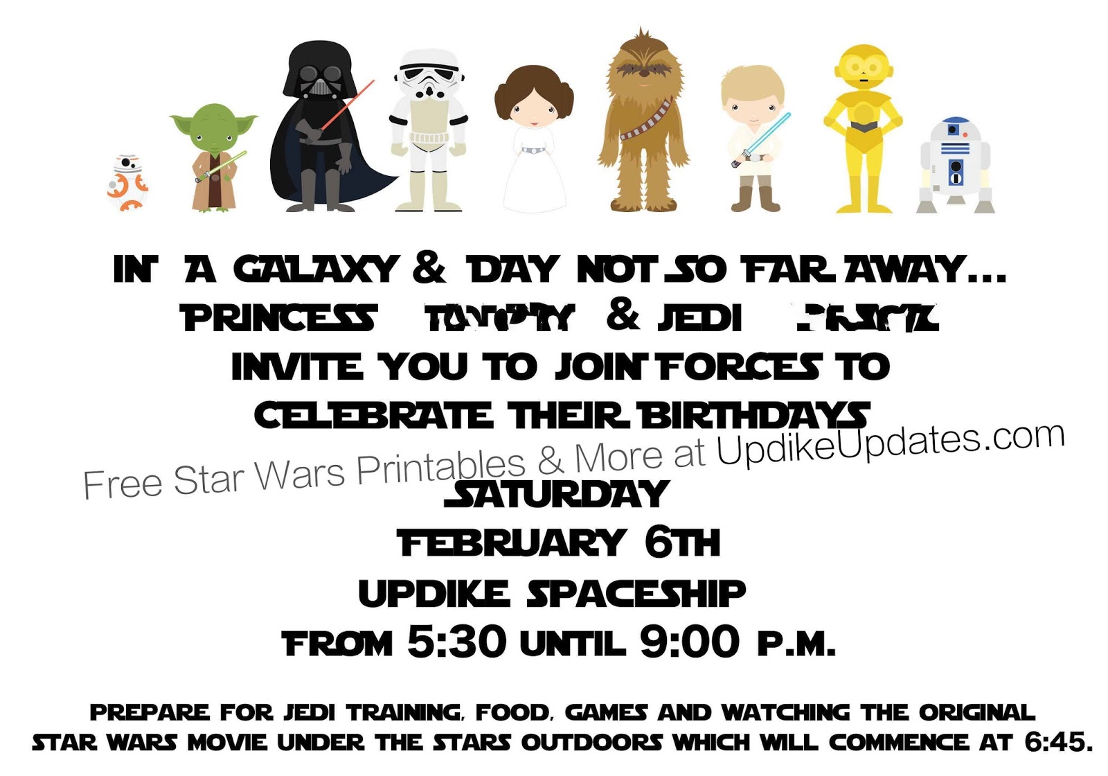 UpdikeUpdates ONE STOP STAR WARS PARTY SHOP – Star Wars Party Invitations Printable