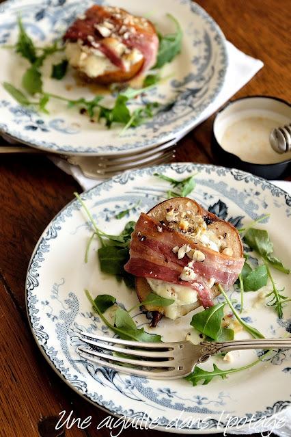 poires-chèvre-noisette-miel-lard-sucré-salé