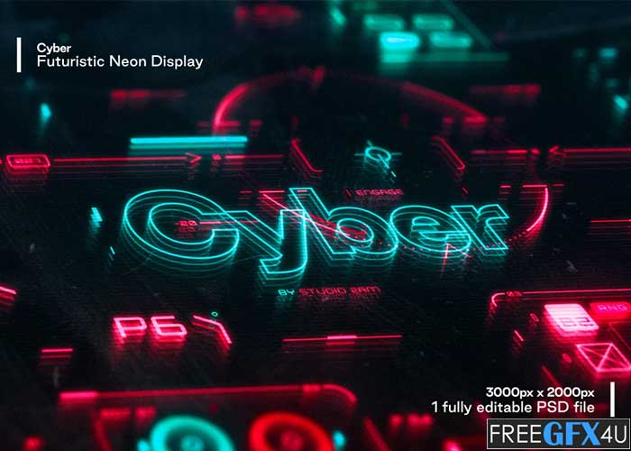 Cyber Futuristic Neon Display