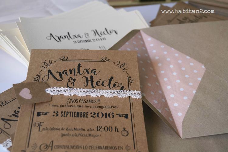 Invitaciones handmade para boda de A&H by Habitan2 | Invitaciones vintage en cartulina kraft diseño de Habitan2 | Eventplanner , personalizamos tu evento