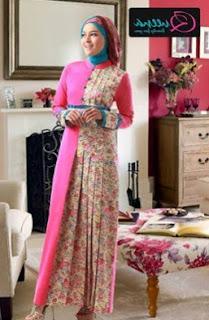 Model gamis batik kombinasi warna pink