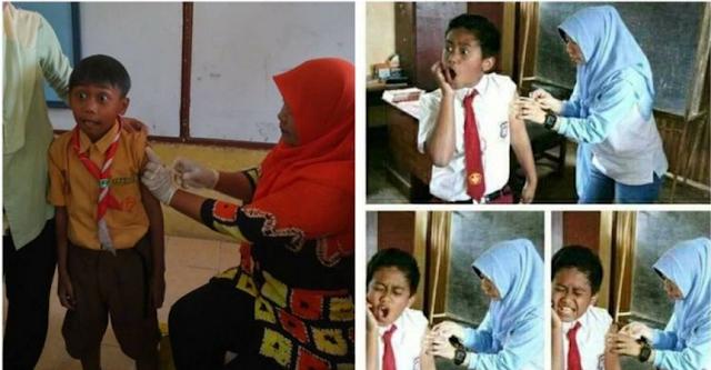 Berikut 15 Foto ekspresi kocak anak sekolah saat diimunisasi, No 6 dijamin ngakak!