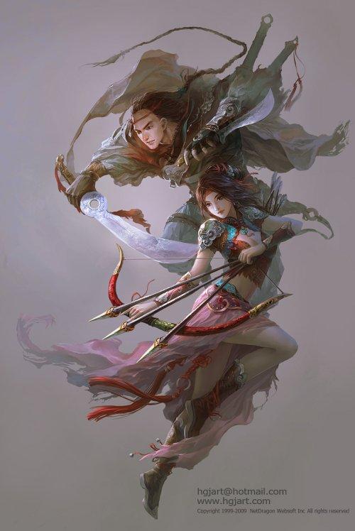 Guangjian Huang hgjart deviantart ilustrações fantasia chinesa artes marciais medievais