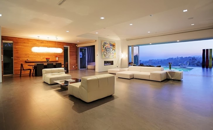 Interior of Modern Beverly Hills House with open interiors