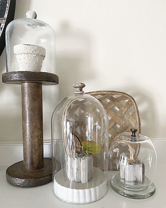 cloche collection on mantel