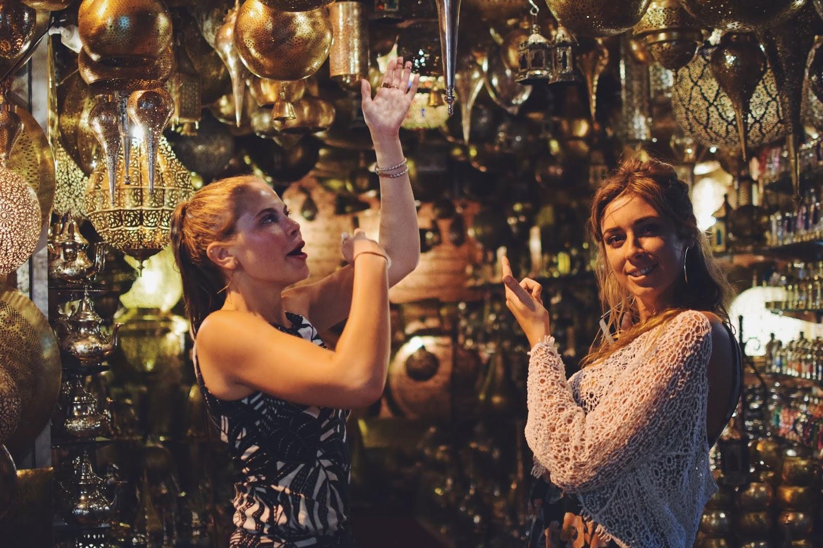 Marrakech lantern shops