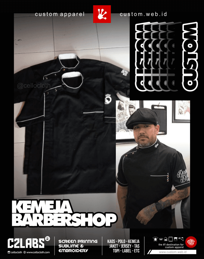 Kemeja Barbershop Custom Bahan Nagata Drill or By Request - Konveksi Kemeja Jogja