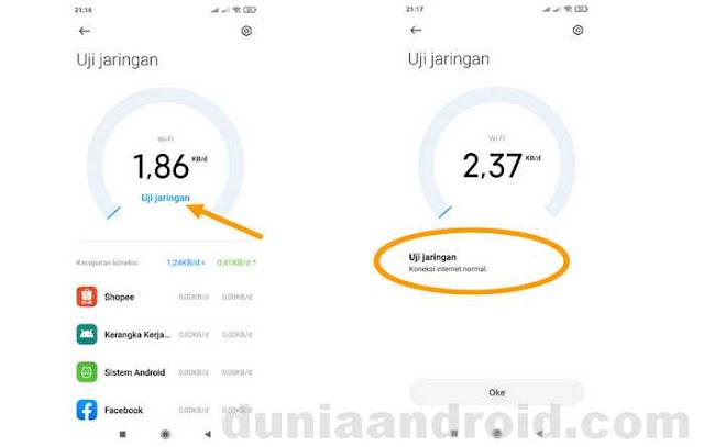 Hasil tes koneksi internet seluler Xiaomi