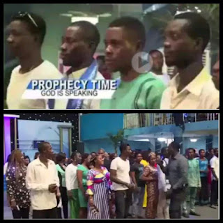 Prophet Jeremiah Omoto Fufeyin, the General Overseer of Christ Mercyland Deliverance Ministry telling people standing in a queue to choose a husband