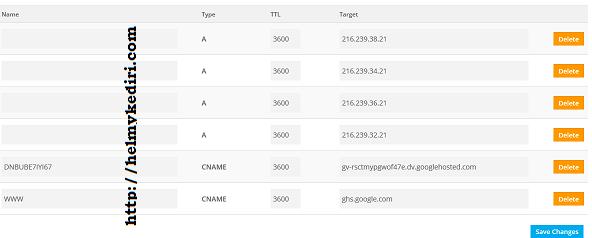 Masukkan data domain