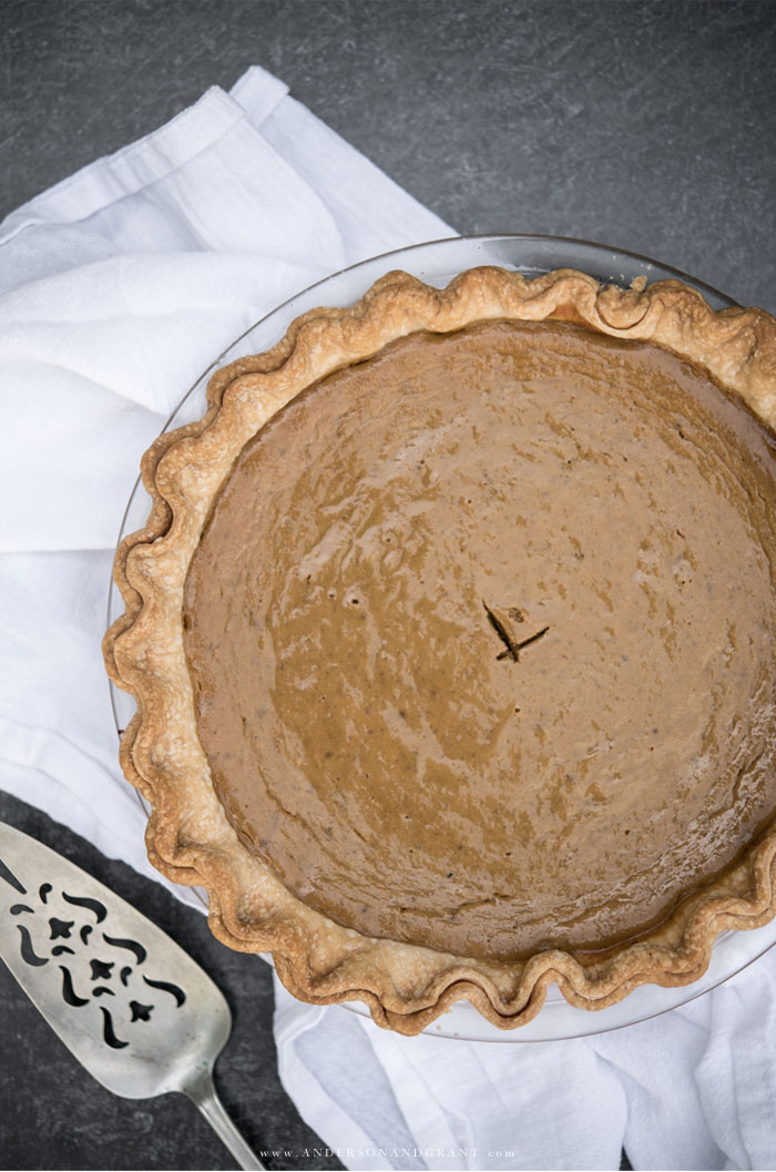 Pumpkin pie in glass baking dish