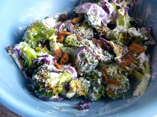 Roasted Broccoli Salad with Bacon: A twist on a favorite side dish takes on new depth of flavor with roasted vegetables and the addition of bacon all tossed in a flavorful sauce! - Slice of Southern