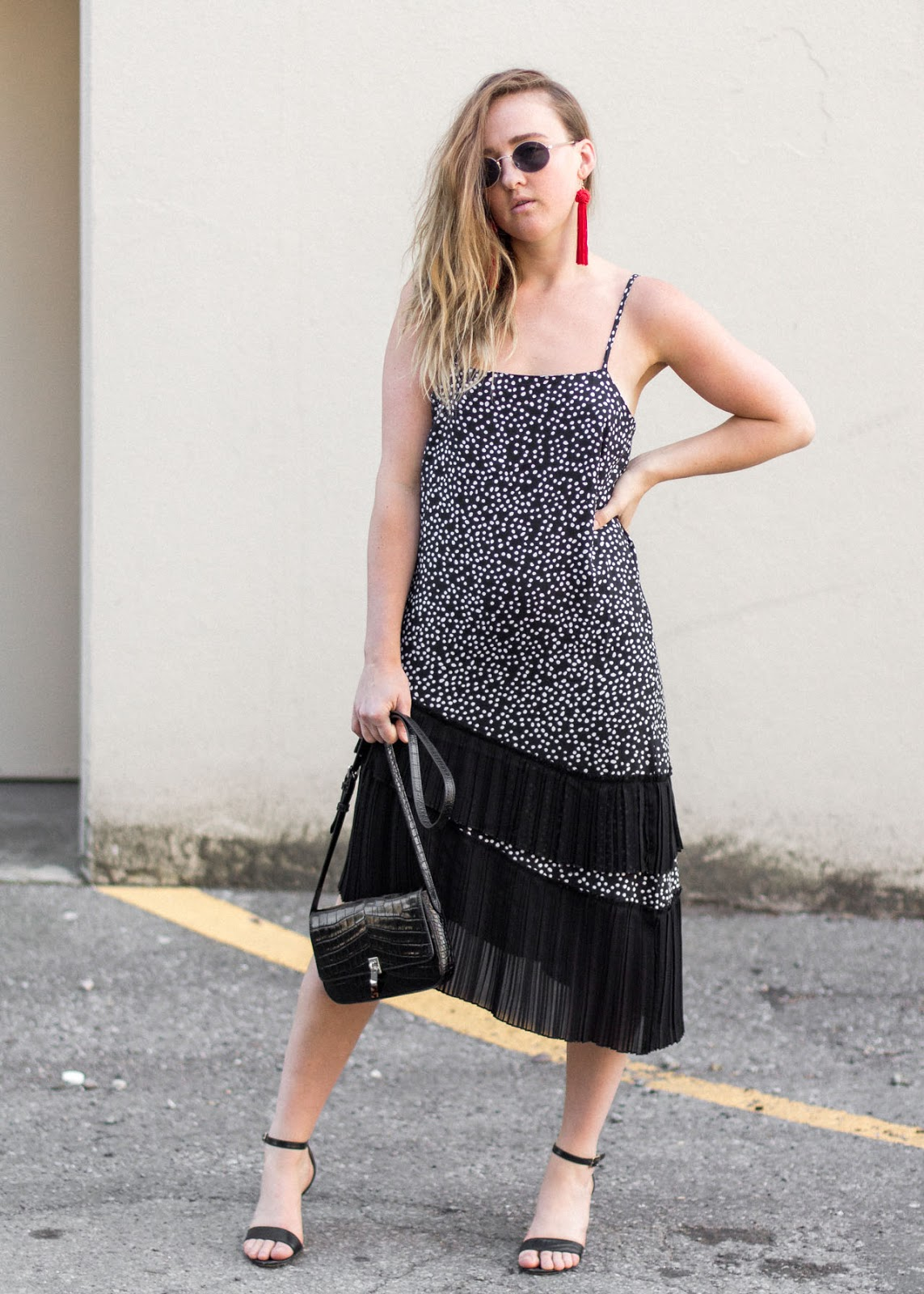 H&M polka dot dress - Evening look - In My Dreams - Vancouver Fashion Blogger
