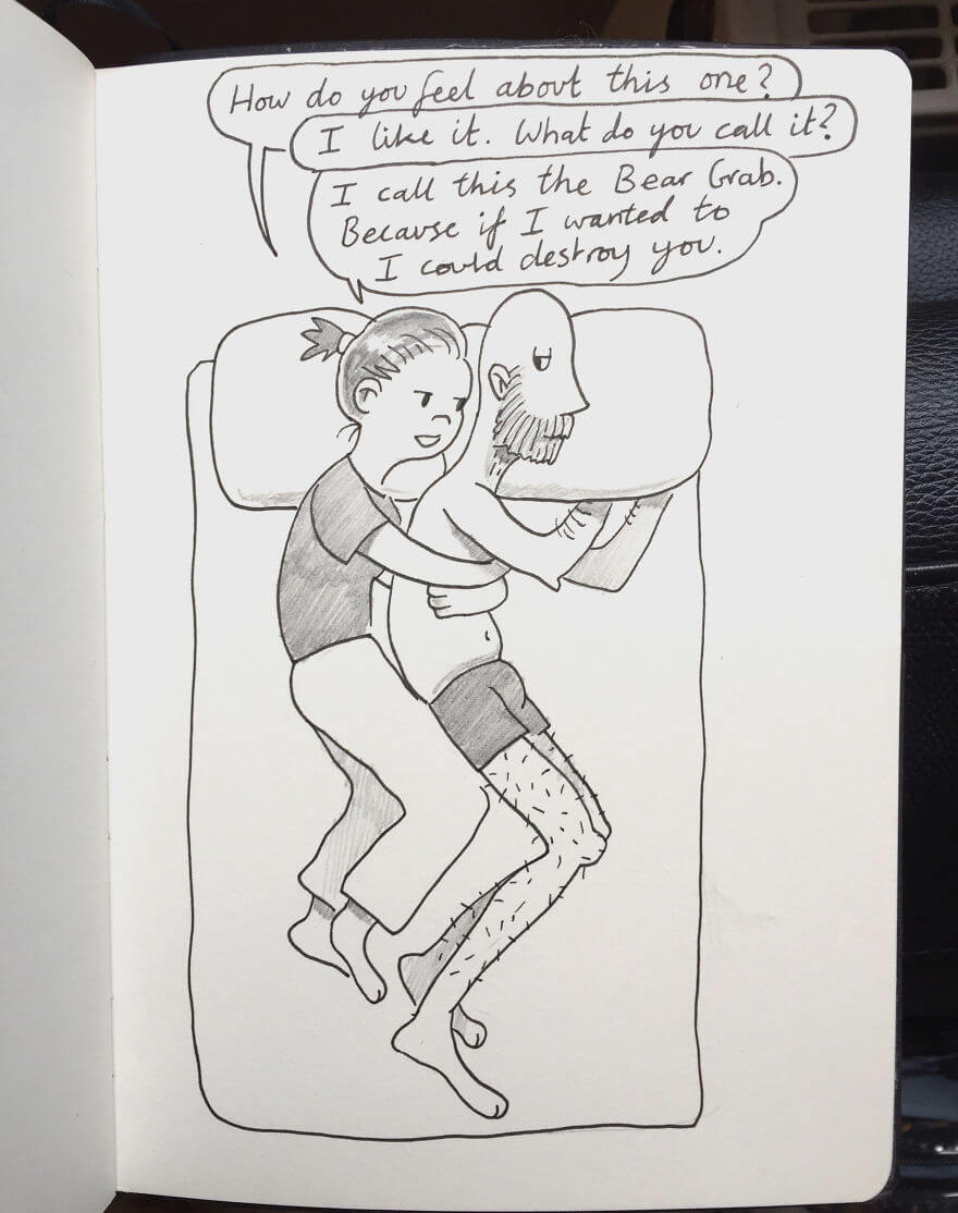 Guy Has Been Drawing A Comic Every Day For His Partner For Five Whole Years - Spooning Technique No. 27 - The Bear Grab