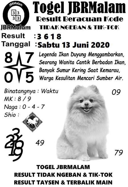 Prediksi HK Sabtu 13 Juni 2020 - JBR Malam HK