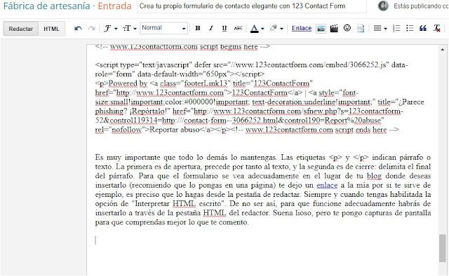 Captura de pantalla del redactor de Blogger